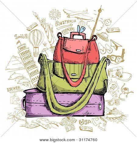 illustration of travel element doddle around luggage