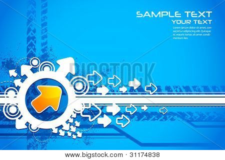 illustration of arrow on abstract futuristic background