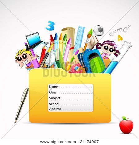 illustration of education folder with object