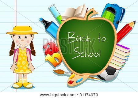 Ilustración de educación artículo saltando del tablero negro de forma de manzana con estudiante permanente