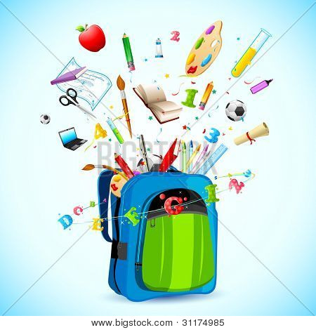 illustration of school object popping out from school bag