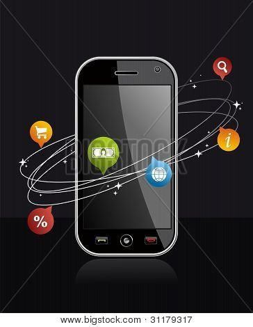 Smartphone Device With Application On Black