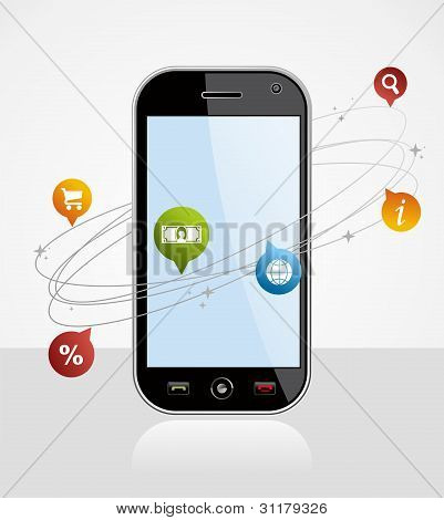 Connection Smartphone Application On White