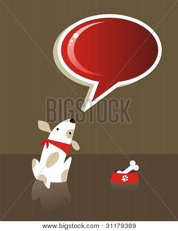Sprechblase und Hund