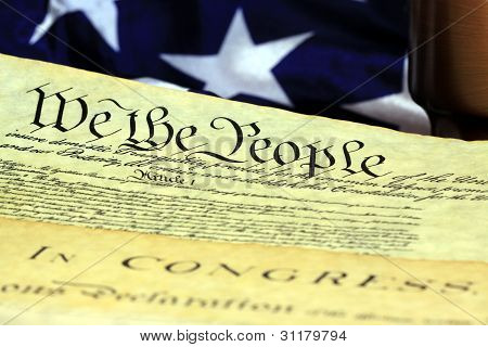 Constitution of the United States and American Flag, We The People