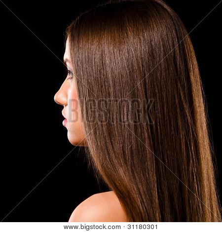 beautiful caucasian woman on black background