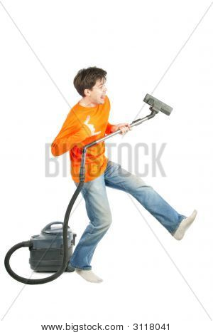 Man Dancing With Vacuum