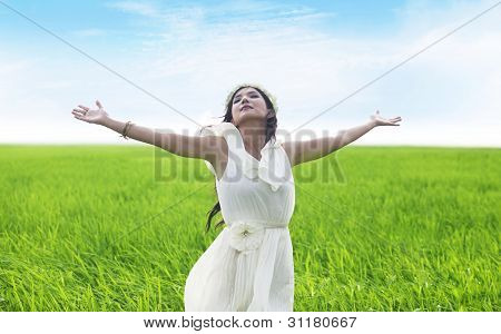 Beatiful Woman Enjoying Spring