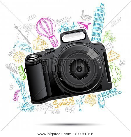 illustration of colorful travel doodle behind camera