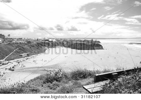 Bench In Summer With View Of Ballybunion Town