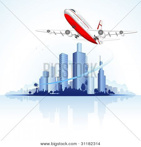 illustration of airplane flying on city scape view with skyscraper