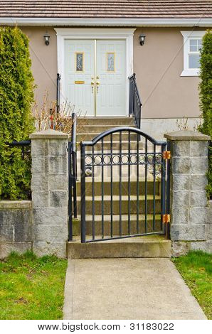 Entrance door of a house in Vancouver, Canada.