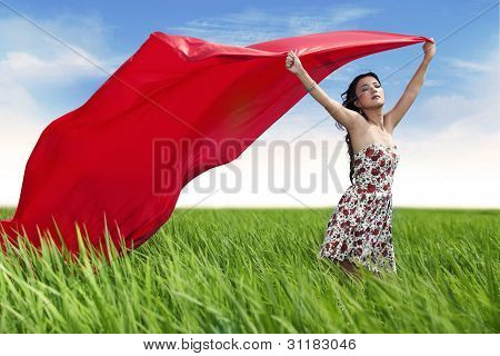Beautiful Woman With Red Scarf Outdoor
