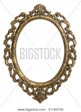 Vintage brass metal frame, isolated.