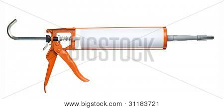 Silicone glue gun, isolated on white