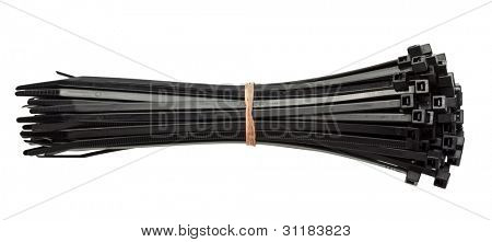 Cable zip ties, isolated on white