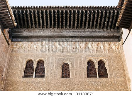 Nazrid Palace, inner courtyard detail. Alhambra, Spain
