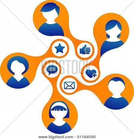 Ilustración de los medios de comunicación y red social, vector