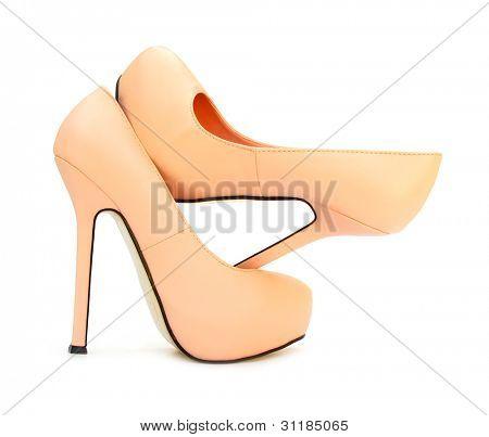 Apricot color high heels pump shoes