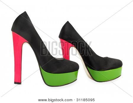 Black, green and pink colorful high heels pump shoes