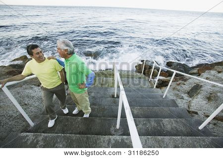 Father and son chatting on seaside steps