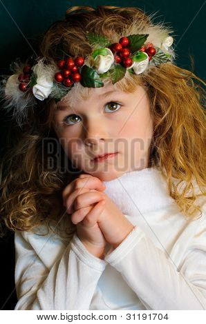 Young Victorian Girl In Prayer