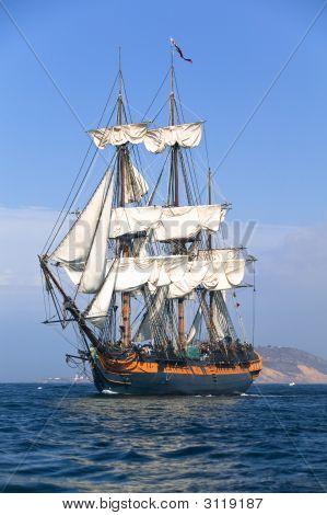 Sailing At Sea Under Full Sail