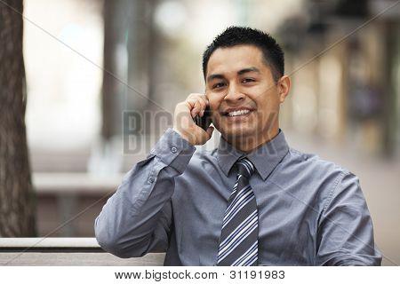 Hispanic Businessman - Chatting On Cell Phone