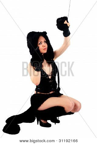 beautiful girl in cat costume