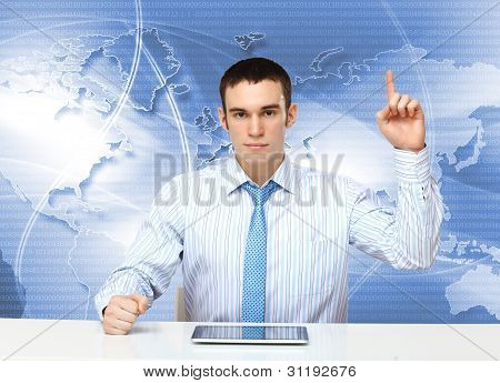 Young businessman making presentation