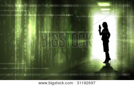 Silouhette against digital background