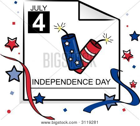 Holiday Fourth Of July Calendar Page