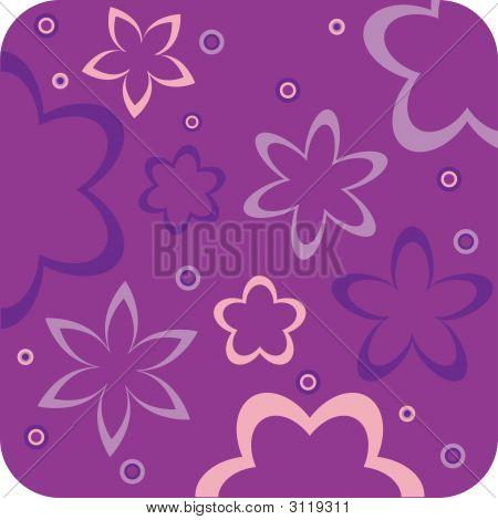 Purple Floral Retro Wallpaper