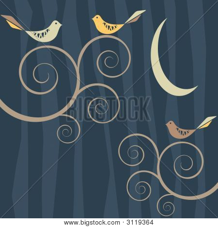 Retro Bird Flock On Patterned Background At Night