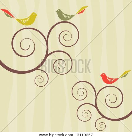 Retro Bird Flock On Patterned Background