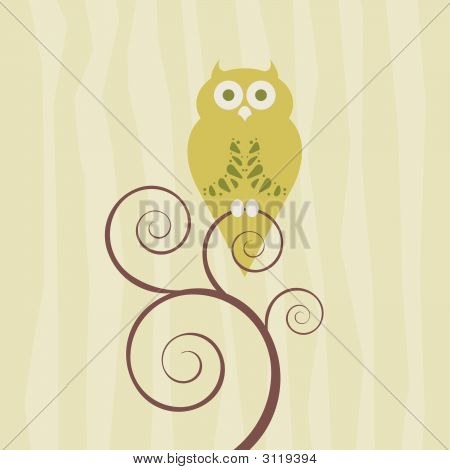 Retro Style Owl On Single Vine