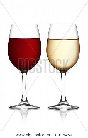 Glass of red and white wine on a white background. The file includes a clipping path.