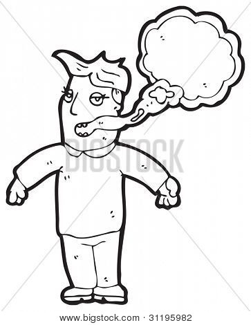 smoking breath man cartoon
