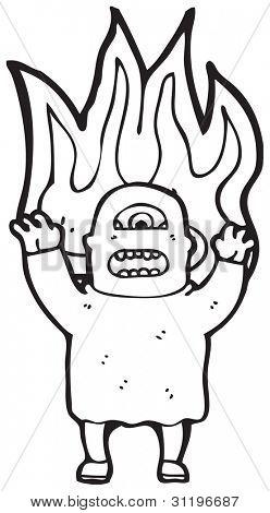 temible ogro en dibujos animados de fuego