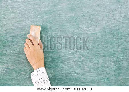Hand On Green Chalk Board