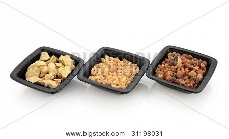 Gold nuggets frankincense and myrrh in black square bowls isolated over white background.