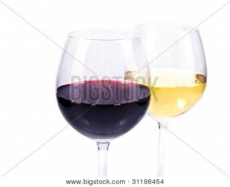 Pair Of Wine Glasses With Red And White Wine