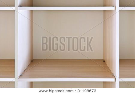empty wooden shelf on the department store