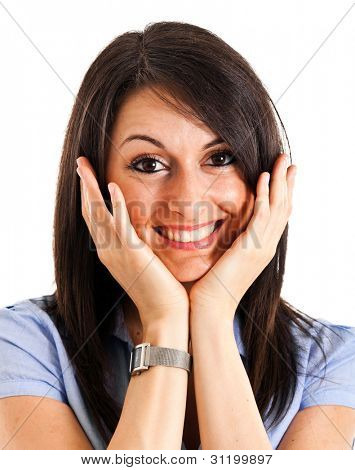 Young beautiful woman in a surprised expression