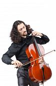 stock photo of cello  - Man playing cello on white - JPG