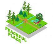 Peaceful Place Concept Banner. Isometric Banner Of Peaceful Place Concept For Web, Giftcard And Post poster