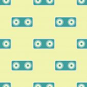 Green Stereo Speaker Icon Isolated Seamless Pattern On Yellow Background. Sound System Speakers. Mus poster
