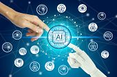 Robot And Human Hand Touching Virtual Screen Artificial Intelligence Technology Icon Over The Networ poster