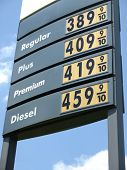 image of higher power  - Higher Price Gas Station Sign regular plus premium and diesel - JPG
