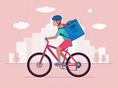 Courier On A Bicycle Delivers A Package With Food. Woman On A Bike Carriers By The City A Big Bag Wi poster
